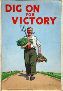 WWII campaign poster fo a farmer with vegetables and pitchfork