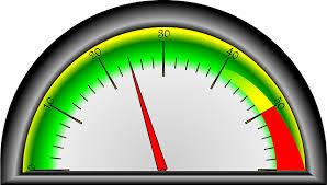 a fuel gauge, 1/4 full
