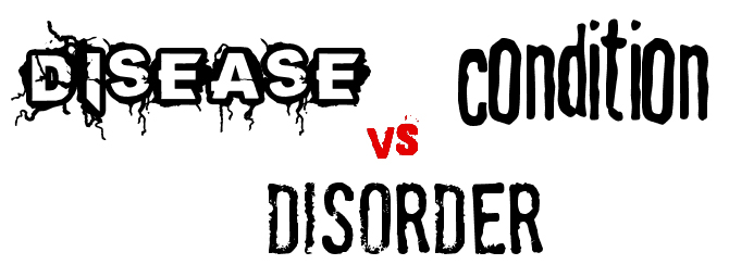 text reads disease vs condition vs disorder