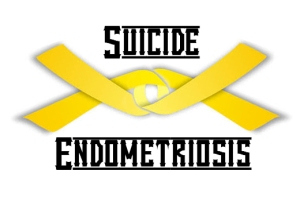 Two yellow ribbons interlocked around the words Suicide Endometriosis