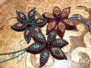 macramé and beaded flowers