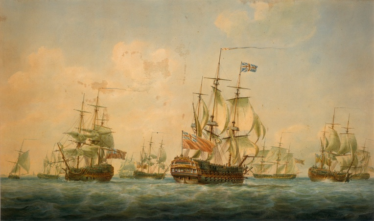 painting of skipper ships on the ocean with fluffy clouds in the background and full sails