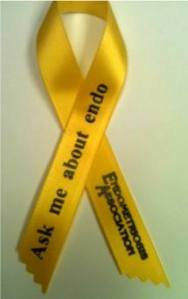 "yellow awareness ribbon that reads ""Ask me about my Endo"""