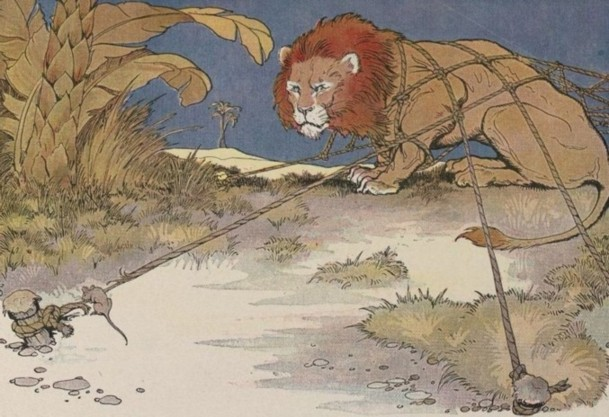 Aesopes Fables illustration of a lion tied down to the ground being freed by a mouse