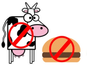 "A cow and hamburger with a ""no slash"" through them"