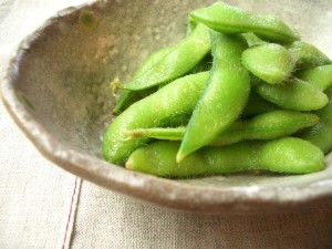 Bowl of soy beans in the pod