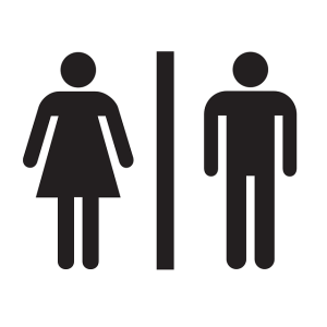 man and woman restroom sign