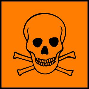 hazard symbol of skull and crossbones on orange background