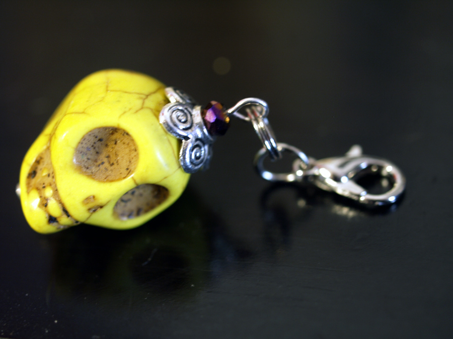 yellow skull beaded charm