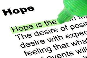 A highlighted definition of the word hope