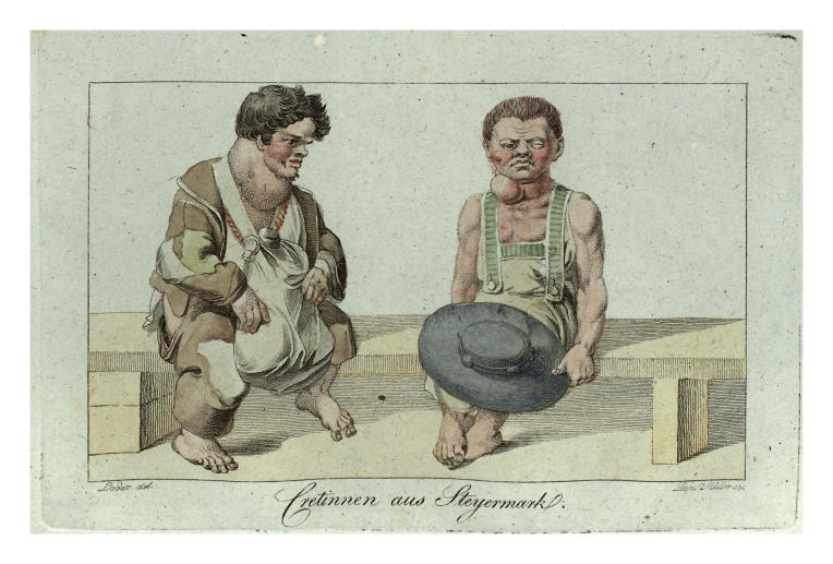 Vintage drawing of men with goiters