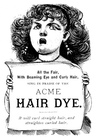 vintage drawing of girl holding up Acme Hair Dye sign
