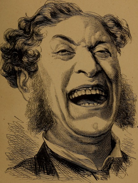 Vintage drawing of laughing man