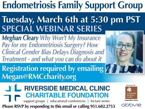 Endometriosis Family Support Group March 6 2018 webinar flyer with Mghan Cleary