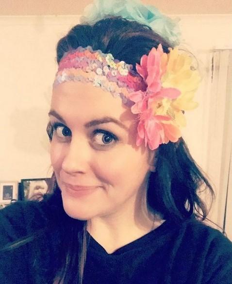 Genevieve wearing a flower crown