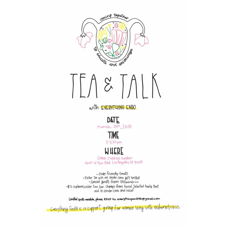 Flyer for Tea & Talk, March 25 2018 event in Los Angeles
