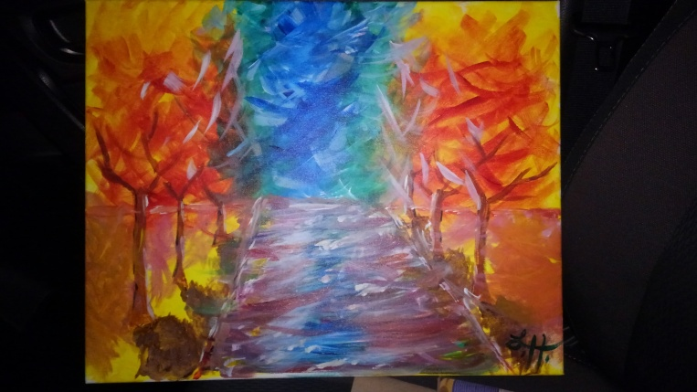Colorful painting of trees in the rain