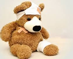 Teddy bear wearing bandages