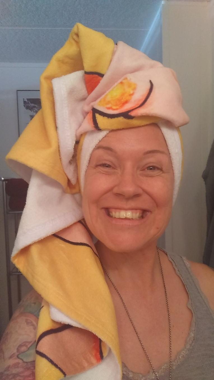 Another view of the Bloomin' Uterus Endometriosis awareness beach towel