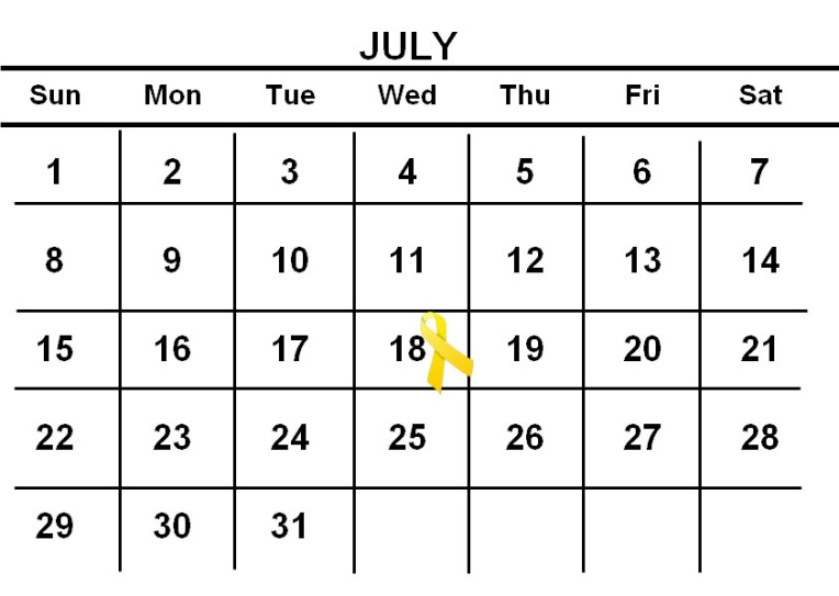 Calendar with July 18th marked by a yellow ribbon