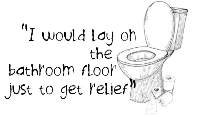 """I would lay on the bathroom floor just to get relief"" quote and a toilet with toilet paper"