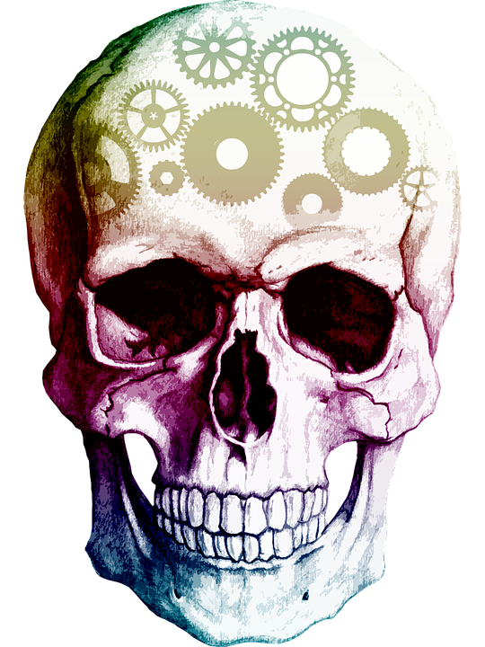 Skull with gears instead of brain