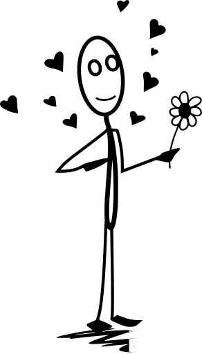 Stickman holding a flower with hearts all over