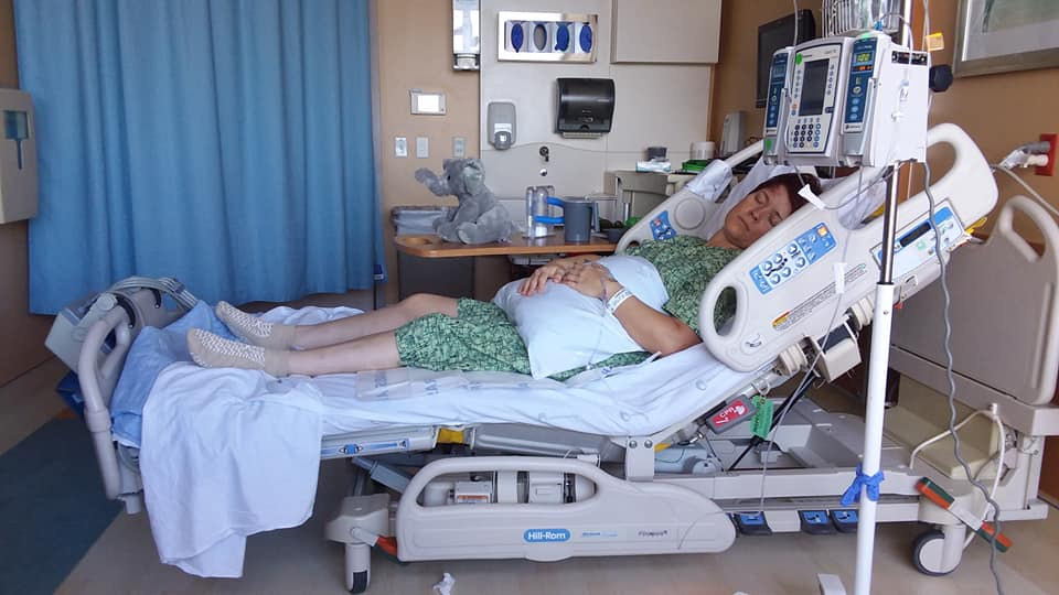 Photo of Lisa Howard recovering in hospital