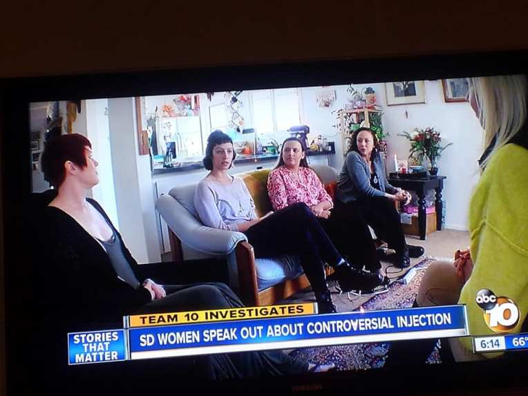 Stillframe from ABC10 story about San Diego Endosisters who speak about about Lupron Depot