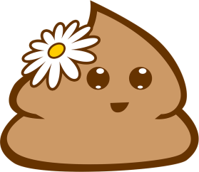Happy poop with daisy on it's head