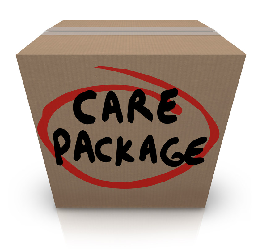 "Box labeled ""Care Package"""