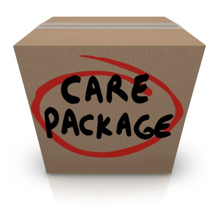 """Box labeled """"Care Package"""""""