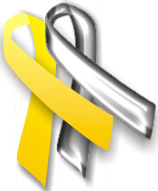 Yellow and silver awareness ribbons
