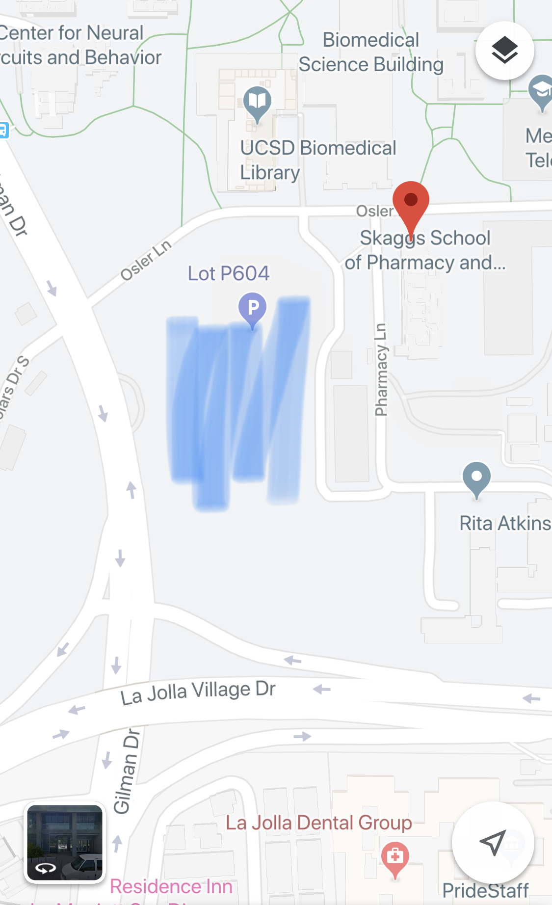Map of where to park for screening at UCSD campus