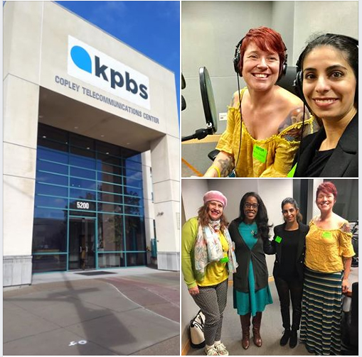 KPBS building, Dr. Sally Rafie and I on the radio, and a group photo