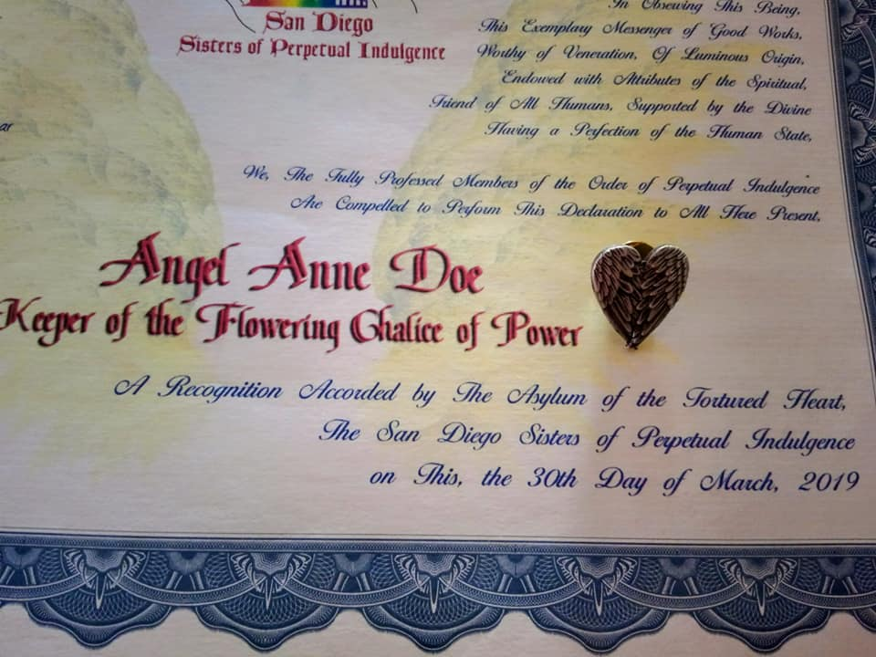 Certificate naming Angel Anne Doe, Keeper of the Flowering Chalice of Power