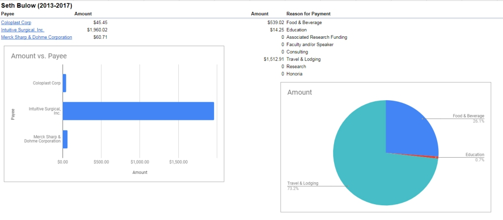 Breakdown of Seth Bulow payments 2013-2017