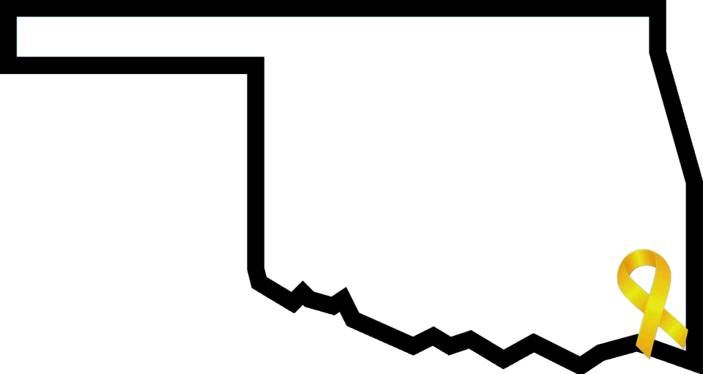 Outline of Oklahoma with a yellow awareness ribbon