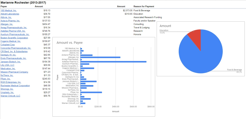 Breakdown of Marianne Rochester payments 2013-2017