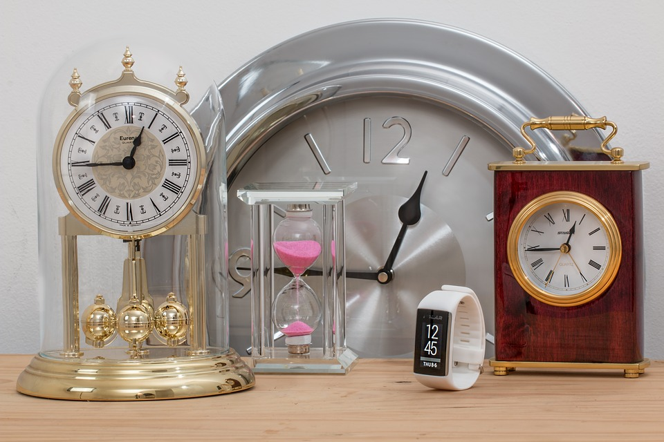 Various clocks, all showing 12:45pm