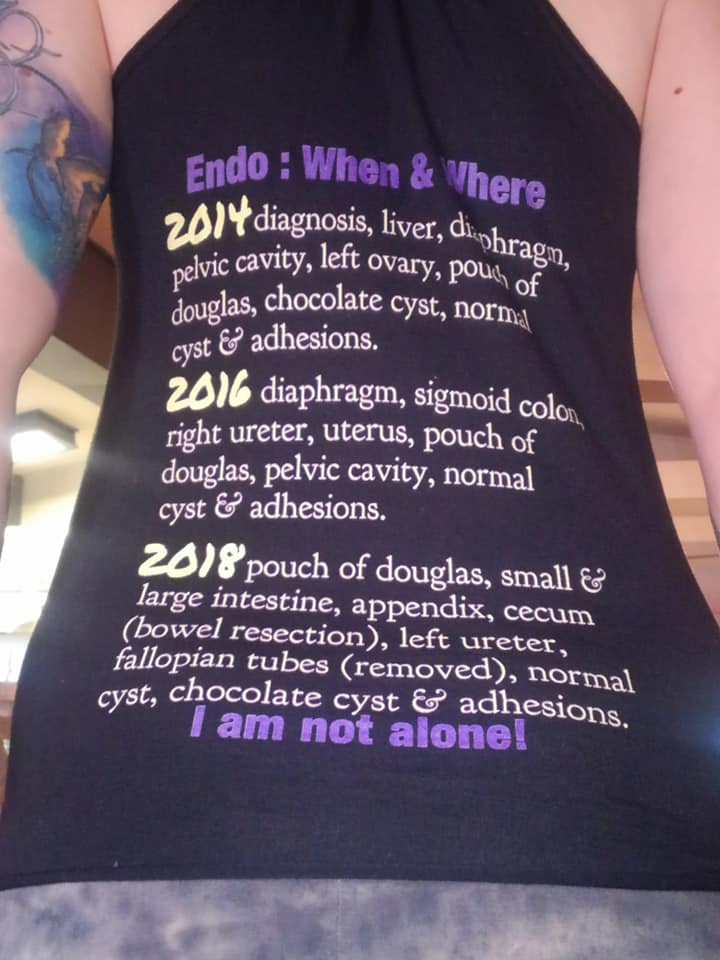 Back of Lisa's Endometriosis Journey tank top which shows each year of surgery and where endo was found