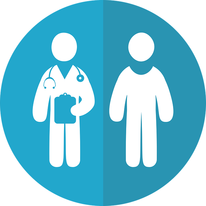 Icon of doctor and patient for clinical trial