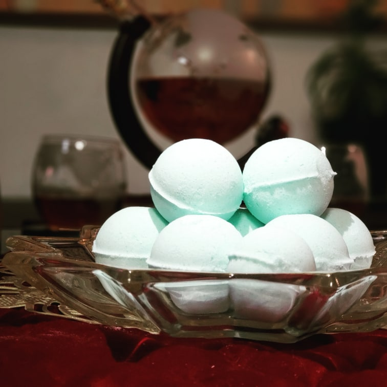 Bowl of bath bombs by Special Flower Oil, Co,