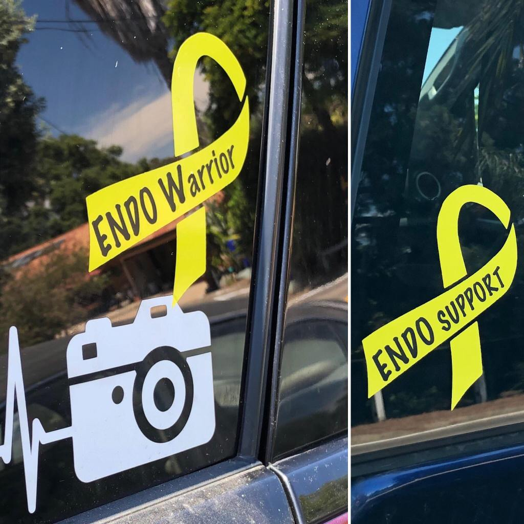 EndoWarrior and EndoSupport yellow ribbon car decals