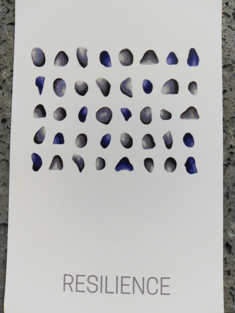 "A card of stones that reads ""Resilience"""