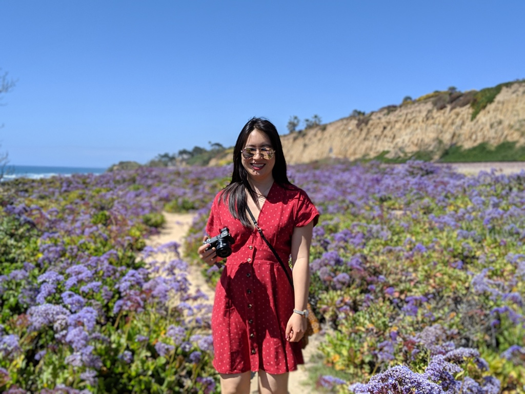 Woman in red dress standing in flower field
