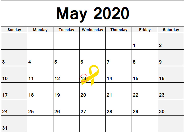 2020 Calendar with May 13 circled