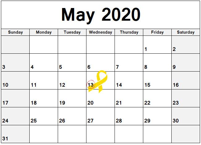 2020 Calendar with May 13 circled