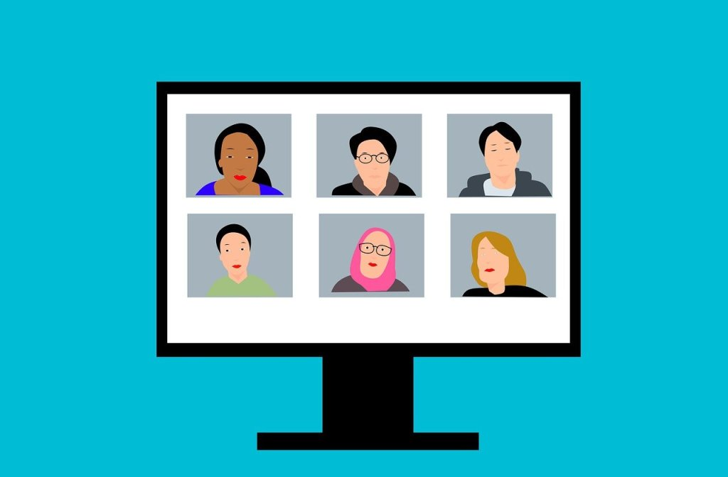 Video conference image with six different men and women