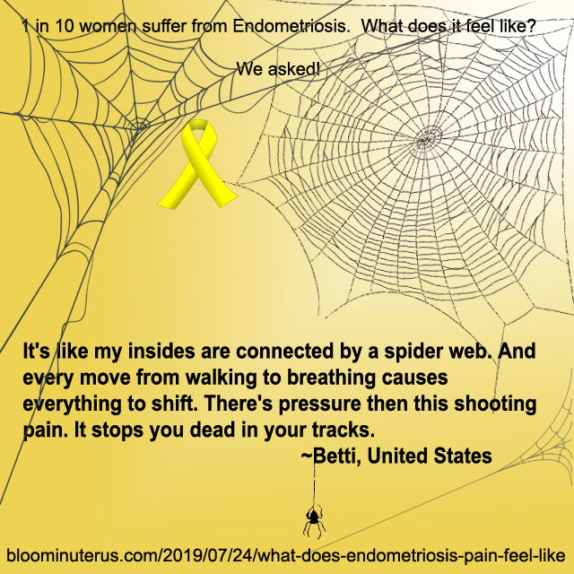 It's like my insides are connected by a spider web. And every move from walking to breathing causes everything to shift.  There's pressure then this shooting pain. It stops you dead in your tracks.  ~Betti, United States